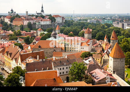 geography / travel, Estonia, Tallinn, view towards the old town with city wall and cathedral mount, Additional-Rights - Stock Photo
