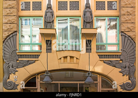 geography / travel, Estonia, Tallinn, Art Nouveau house entrance, Additional-Rights-Clearance-Info-Not-Available - Stock Photo