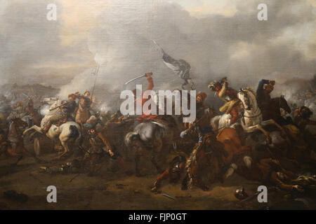 Philips Wouwerman (1619-1668). Dutch painter. Great battle of cavalry and infantry, 1650-1660. Battle between Poles - Stock Photo