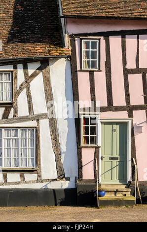 Half timbered medieval cottages in Lavenham, Suffolk, England,UK - Stock Photo