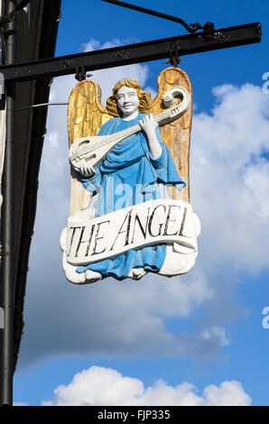 The traditional pub sign of The Angel pub, Lavenham, Suffolk, England, UK. - Stock Photo