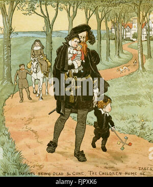 The Babes in the Wood - 'Their parents being dead and gone, the children home he takes'. Illustration by Randolph - Stock Photo