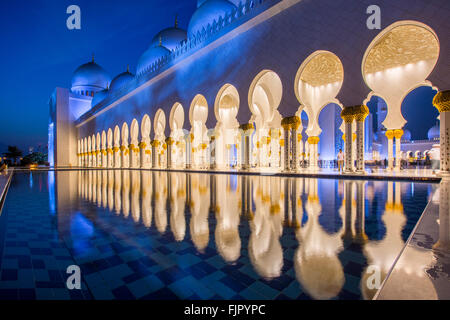 Arcades in the Sheikh Zayed Mosque, Sheikh Zayed Grand Mosque, Abu Dhabi, Emirate of Abu Dhabi, United Arab Emirates - Stock Photo