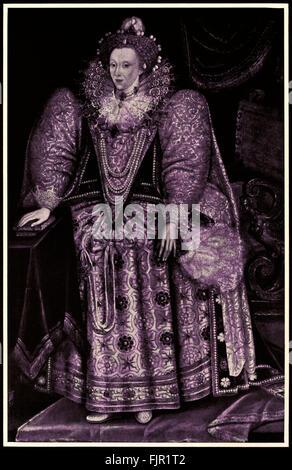 Queen Elizabeth I (1533-1603), after a 1590 portrait by Marcus Gheeraerts (1561-1636).  Herbert Norris artist  died - Stock Photo