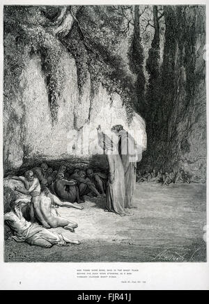Dante's purgatory, part of his Divina Commedia / Divine Comedy. Illustration by Gustave Doré. Canto IV lines 100 - Stock Photo