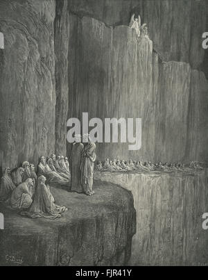 Dante's purgatory, part of his Divina Commedia / Divine Comedy. Illustration by Gustave Doré. Canto XIII lines 129 - Stock Photo