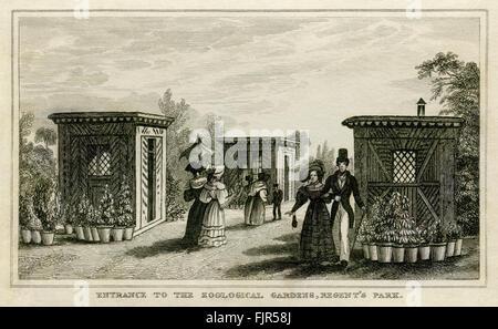 Entrance to Regent's Park Zoo, London 1835 - Stock Photo