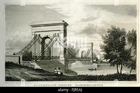 Suspension Bridge, Hammersmith, London 1853. Designed by William Tierney Clark (1783 – 1852) in 1824. Replaced by - Stock Photo