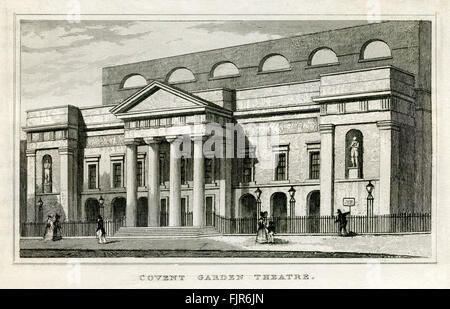 Covent Garden Theatre, London. From 1835 print. - Stock Photo