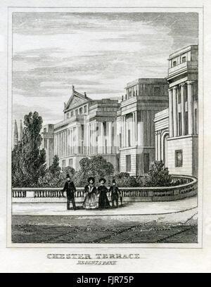 Chester Terrace, Regent's Park, London. From 1835 print. - Stock Photo