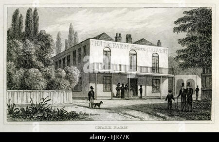 Chalk Farm, Primrose Hill, London. From 1835 print. - Stock Photo