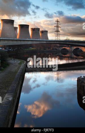 Ferrybridge Power Station from Ferrybridge Lock Aire and Calder Navigation Ferrybridge West Yorkshire England - Stock Photo