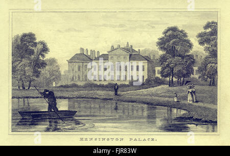 Kensington Palace, London, 1835. Former residence of King William and his royal consort Queen Anne, then George - Stock Photo