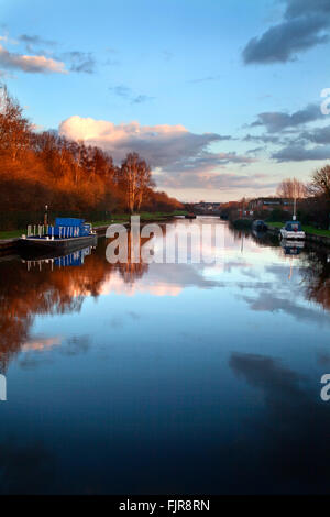 Aire and Calder Navigation at Sunset from Ferrybridge Lock Knottingley West Yorkshire England - Stock Photo