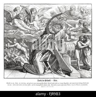 David the psalmist, Book of Psalms - plea, psalm 51 verses 12 - 14 'Restore unto me the joy of thy salvation; and - Stock Photo