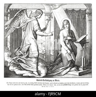 Annunciation, Gospel of Luke chapter I verses 35 - 38 'And the angel answered and said unto her, The Holy Ghost - Stock Photo