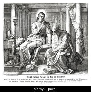Jesus and Nicodemus, Gospel of John chapter III verses 2 - 3 'The same came to Jesus by night, and said unto him, - Stock Photo