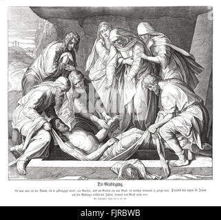 Burial of Jesus, Gospel of John chapter XIX verses 41 - 42 'Now in the place where he was crucified there was a - Stock Photo