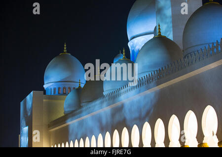 Sheikh Zayed Mosque, Sheikh Zayed Grand Mosque, Abu Dhabi, Emirate of Abu Dhabi, United Arab Emirates - Stock Photo