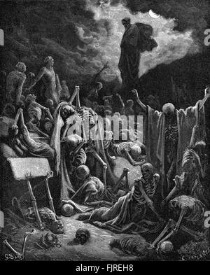 The prophet Ezekiel's vision of the Valley of Dry Bones (Ezekiel chapter XXXVII), illustration by Gustave Doré (1832 - Stock Photo