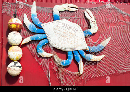 Close-up of crab on wall of Joanie's Blue Crab Cafe in Ochopee on Tamiami Trail US 41, Big Cypress National Park, - Stock Photo