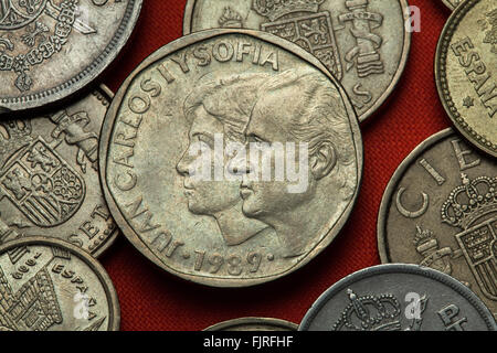 Coins of Spain. King Juan Carlos I and Queen Sofia of Spain depicted in the Spanish 500 peseta coin (1989). - Stock Photo
