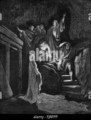 Resurrection of Lazarus (John chapter XI), illustration by Gustave Doré (1832 – 1883) - Stock Photo