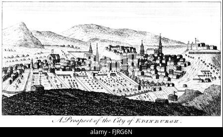 Engraving of A Prospect of the City of Edinburgh scanned at high resolution from a book printed in 1763. Believed - Stock Photo