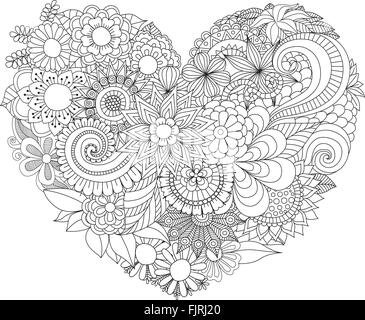 Adult Coloring Page With Flowers Pattern Black And White Doodle