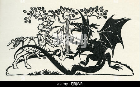 St George of Merrie England, English fairy tale. St George slays the dragon. Illustration by Arthur Rackham (1867 - Stock Photo