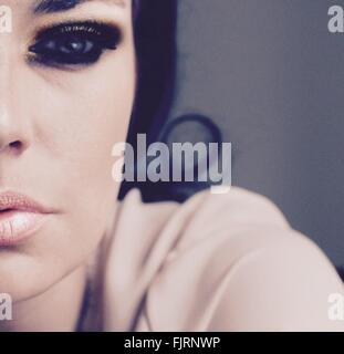 Close-Up Of Woman In Eye Make-Up - Stock Photo