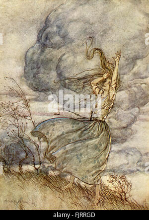 Undine  by Friedrich de la Motte Fouqué, illustrated by Arthur Rackham. ( Undine, a water spirit, marries a knight - Stock Photo