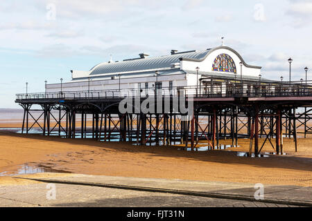 Cleethorpes pier UK England building exterior beach sand tide out - Stock Photo