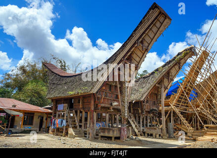 Tongkonan traditional houses in Palava village. Tana Toraja, Sulawesi. Indonesia - Stock Photo
