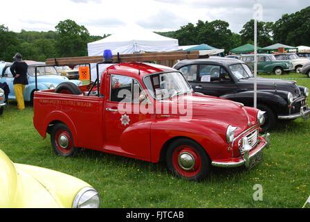 Morris Minor fire engine, Cornbury Park 2015, Oxford United Kingdom - Stock Photo