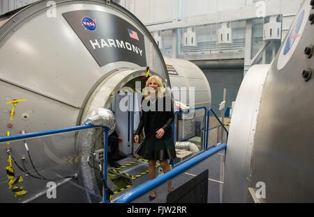 Dr. Jill Biden, wife of Vice President Joe Biden during a tour of a mockup of the International Space Station at - Stock Photo