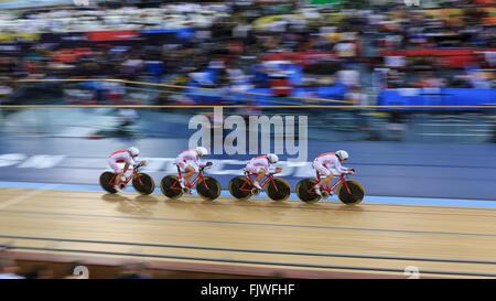 London, UK, 3 March 2016. UCI 2016 Track Cycling World Championships. Poland's team of Katarzyna Pawlowska, Eugenia - Stock Photo