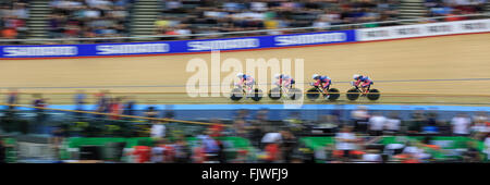 London, UK, 3 March 2016. UCI 2016 Track Cycling World Championships. America's team of Sarah Hammer, Kelly Catlin, - Stock Photo