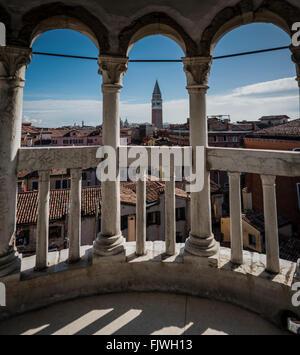 Scala Contarini del Bovolo spiral staircase in Venice, Italy, - Stock Photo