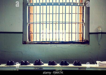 Alcatraz Prison Shoes, San Fransisco - Stock Photo