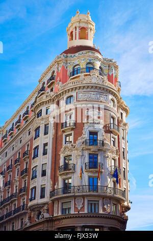 Banco de Valencia historical building in Pintor Sorolla street at Spain - Stock Photo