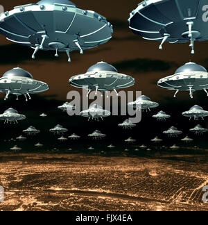 Alien invasion concept as a menacing group of invading flying saucers and spaceships over a city as science fiction - Stock Photo