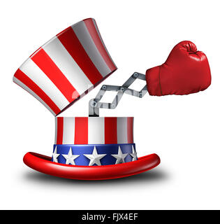 American election fight and political strategy concept for campaigning for votes as an open uncle sam top hat decorated - Stock Photo