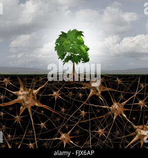 Neuron brain connection concept as a tree in a human head form with roots shaped as active growing neurons with - Stock Photo