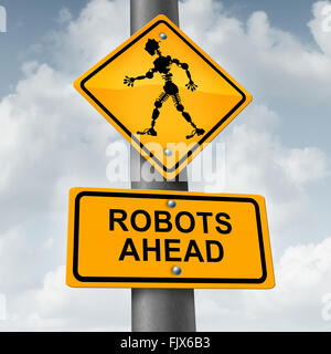 Robot and robotic technology concept as a traffic sign with a futuristic humanoid cyborg icon as a symbol forfuture - Stock Photo