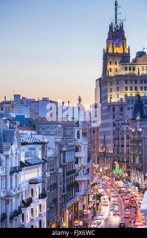 Gran Via street and Telefonica building. Madrid, Spain. - Stock Photo