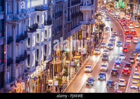 Gran Via street. Madrid, Spain. - Stock Photo