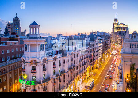 Gran Via street. Madrid, Spain. - Stock Photo