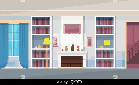 Modern House Home Living Room Interior - Stock Photo