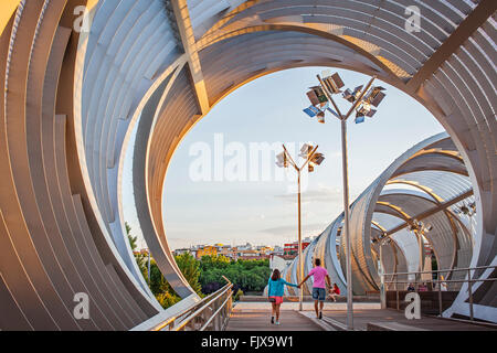Arganzuela Bridge by Dominique Perrault, Madrid Rio Park, Manzanares river. Madrid, Spain - Stock Photo